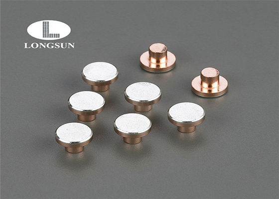 Round Head Contact Points Three Parts Composite , Sterling Silver Rivet ISO9001